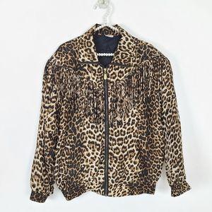 Vintage 80s CoAco 100% Silk Fringe Leopard Jacket
